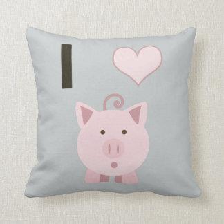 Cute I heart pigs Desgin Throw Pillow
