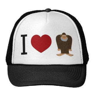CUTE! I LOVE <3 BIGFOOT design - Finding Bigfoot Trucker Hats