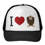 CUTE! I LOVE <3 BIGFOOT design - Finding Bigfoot Trucker Hat