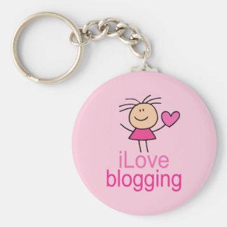 Cute I Love Blogging T-shirt Gift Keychain