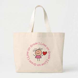Cute I Love First Grade Large Tote Bag
