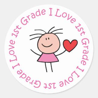 Cute I Love First Grade Round Stickers