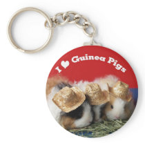 Cute I Love Guinea Pigs Keychain