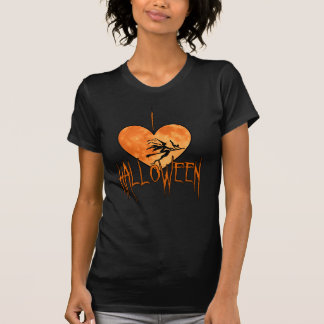 Cute I love Halloween Black Cat, Witch Tee Shirt