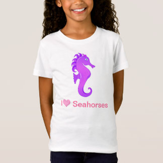 Cute I Love (Heart) Sehorses In Purple and Pink T-Shirt