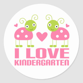 Cute I Love Kindergarten Ladybug Gift Classic Round Sticker