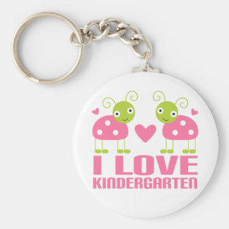 Cute I Love Kindergarten Ladybug Gift Basic Round Button Keychain