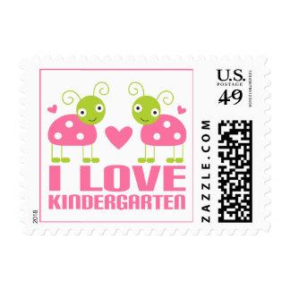Cute I Love Kindergarten Ladybug Gift Stamps