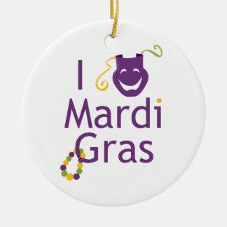 Cute I Love Mardi Gras Ornament