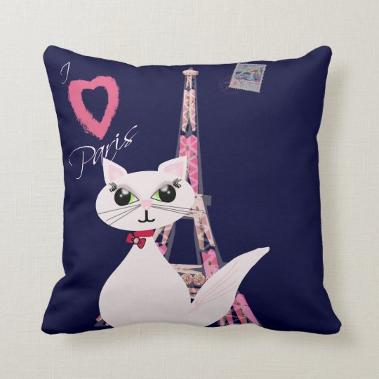 Cute I Love Paris cat Throw Pillow
