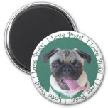 Cute I Love Pugs 2 Inch Round Magnet