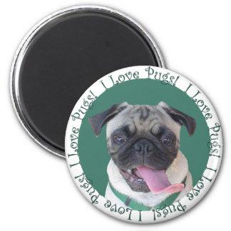 Cute I Love Pugs Magnet