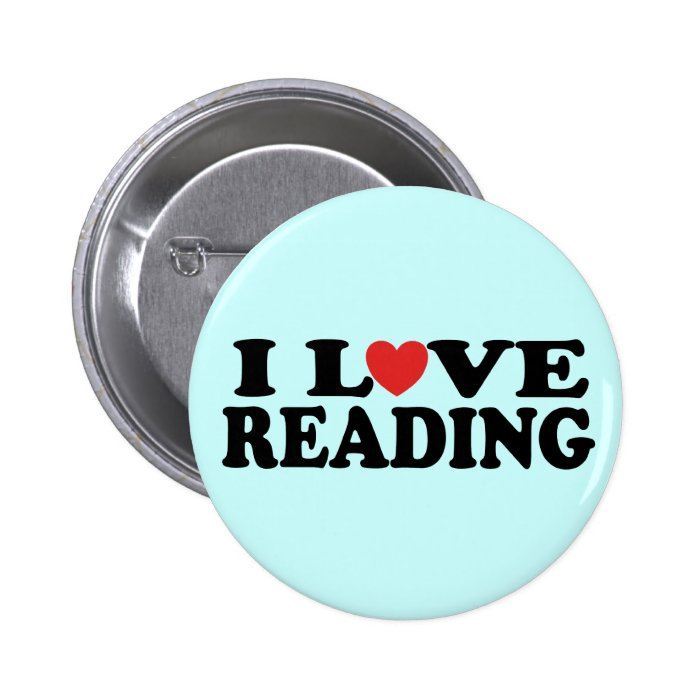 Cute I Love Reading Gift Pinback Button