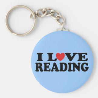 Cute I Love Reading T-shirt Basic Round Button Keychain