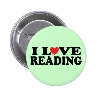 Cute I Love Reading T-shirt Button