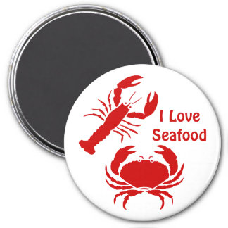 Cute I love seafood 3 Inch Round Magnet