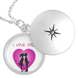 Cute I Love You Art Round Locket Necklace