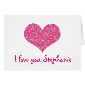 Cute I Love You Pink Heart Personalized Girly Name Card