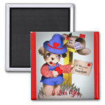 Cute I Love You Vintage Valentine's Day Puppy Dog 2 Inch Square Magnet