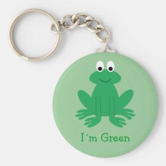 "Cute ""I´m Green"" Cartoon Frog Keychain"