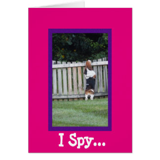 "Cute ""I Spy"" Birthday Card with Basset Hound"
