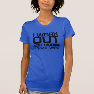 Cute I Work Out/Take Naps Fitted Racerback Tank