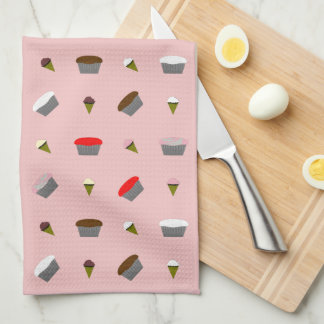 Cute Ice Cream and Cupcakes Pink Hand Towel