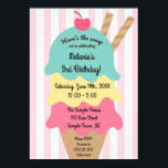 "Cute Ice Cream Birthday Invitation<br><div class=""desc"">These birthday invitations are super sweet and perfect for your sweet little girl. Fully customizable,  with bright colors and lovely text,  people will be wowed by how professional they look. Who doesn&#39;t love ice cream birthdays?</div>"