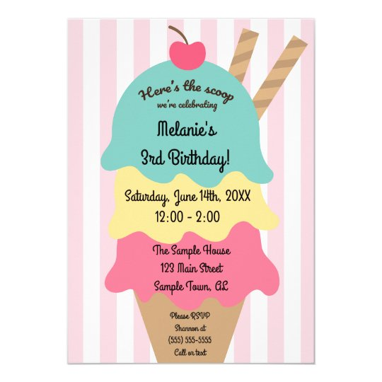 cute ice cream birthday invitation zazzle com