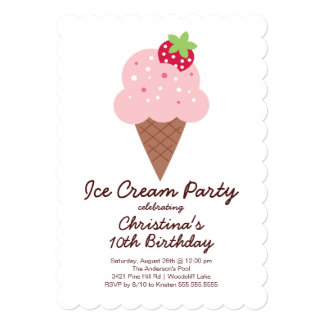 Ice Cream Birthday Party Invitations Announcements Zazzle