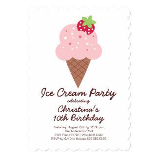 Cute Ice Cream Birthday Party Invitation