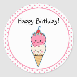 Cute Ice Cream Birthday Classic Round Sticker