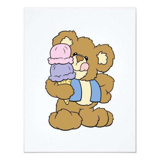 Cute Ice Cream Cone Bear 4.25x5.5 Paper Invitation Card