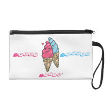 Cute Ice Cream Cone Pattern Wristlet Bag