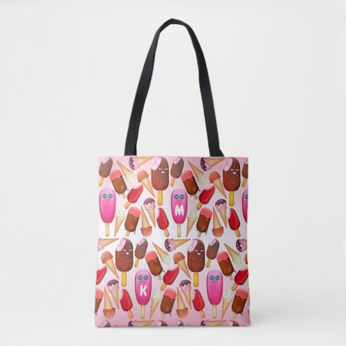 Cute Ice Cream Cone Popsicle Monogram Sweets Tote Bag