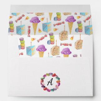 Cute Ice Cream Cones, Cake, and Cookies Monogram Envelope