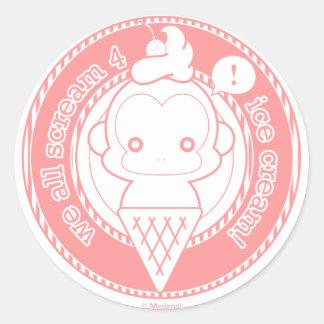 Cute Ice Cream Monkey Classic Round Sticker