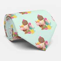 Cute Ice Cream Pattern Neck Tie