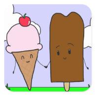 Cute Ice Cream Square Sticker
