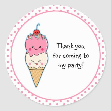 Toddler & Baby themed Cute Ice Cream Thank You Classic Round Sticker