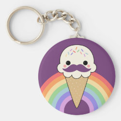 Basic Button Keychain with Cute Kawaii Mustache design