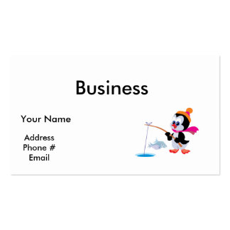 cute ice fishing little penguin business card templates