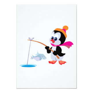cute ice fishing little penguin card