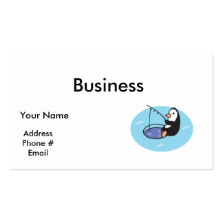 cute ice fishing penguin business card templates