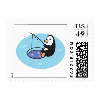 cute ice fishing penguin postage stamps