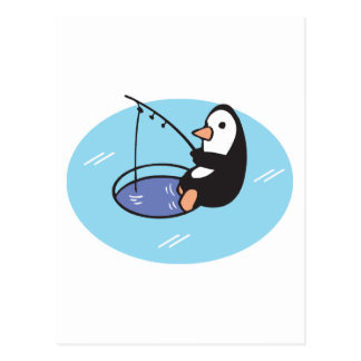 cute ice fishing penguin postcard