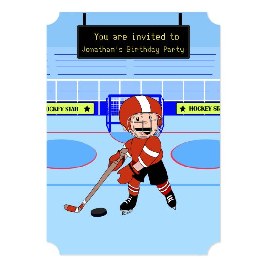 Cute Ice Hockey star Birthday Invitation