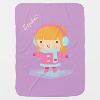 Cute Ice Skater Girl For Baby Girls Baby Blanket