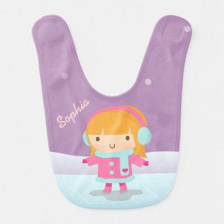 Cute Ice Skater Girl For Baby Girls Bib