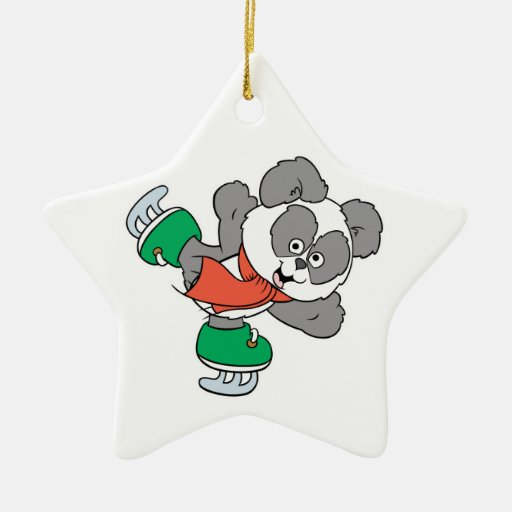 Cute Ice Skating Panda Bear Double-Sided Star Ceramic Christmas Ornament